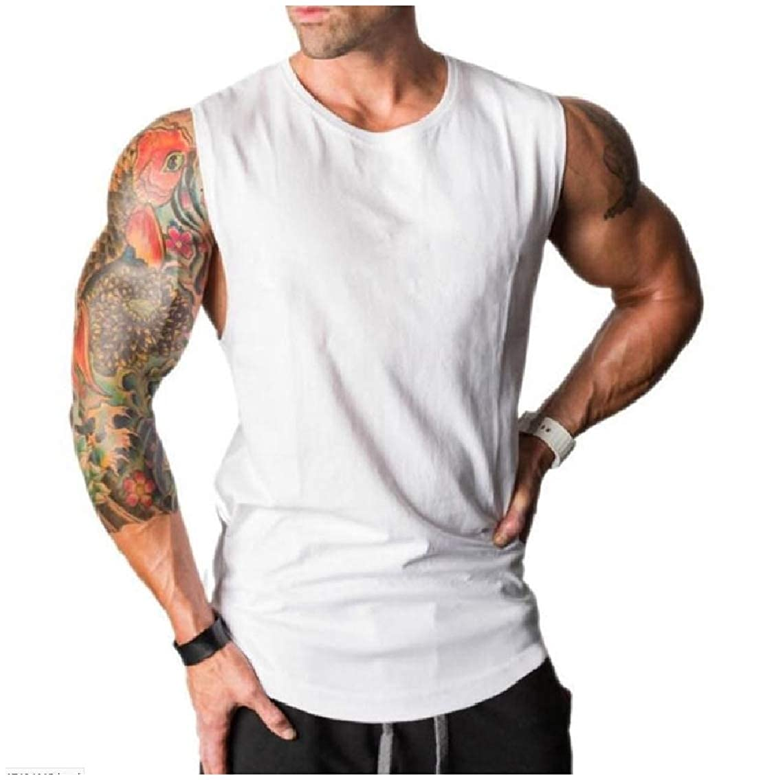 Coolred-Men Pure Color Sports Crew Neck Cotton Sleeveless Vest Tank Top Shirt