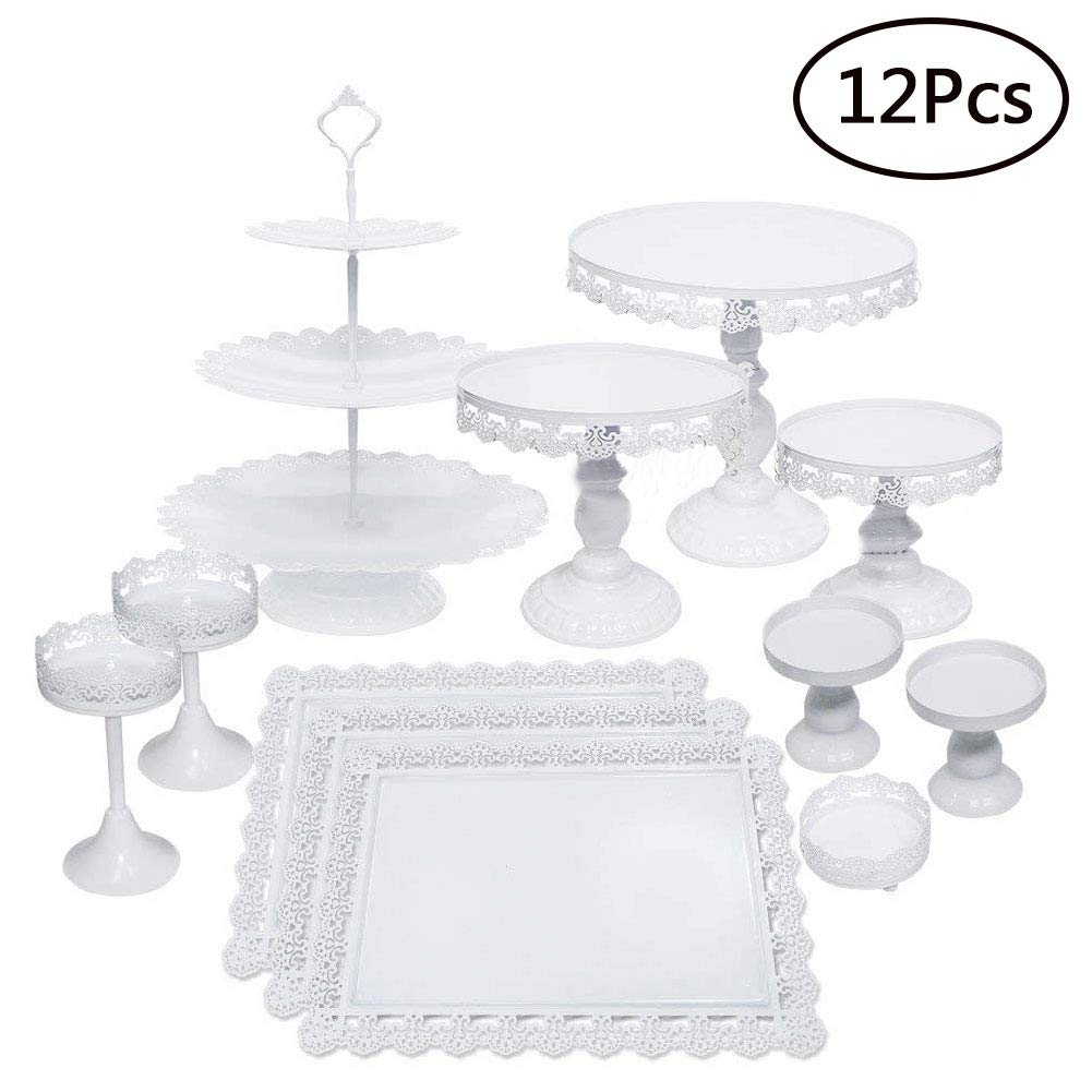 Set of 12 Pieces Cake Stands Iron Cupcake Holder Fruits Dessert Display Plate White for Baby Shower Wedding Birthday Party Celebration Home Decor Serving Platter (12Pcs Cake Stands)