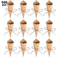 WOWOSS 100Pcs Conos Papel Arroz Boda Kraft, Conos