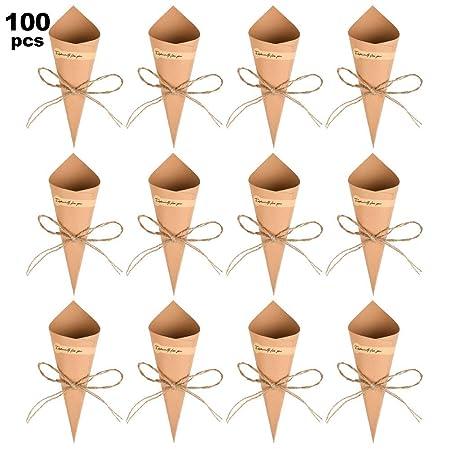 WOWOSS 100Pcs Conos Papel Arroz Boda Kraft, Conos Boda Vintage Con 100Pcs Adhesivas, 100Pcs Cuerda de Cáñamo y una Cinta Adhesiva de Doble Cara, Conos ...