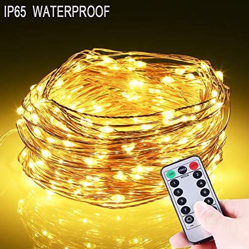 B-right LED String Lights, 66ft 200 LEDs Battery Operated Lights, 8 Modes Waterproof Copper Wire Lights Festival Decorative Starry Fairy String Lights with Remote Control for Indoor Patio Warm White