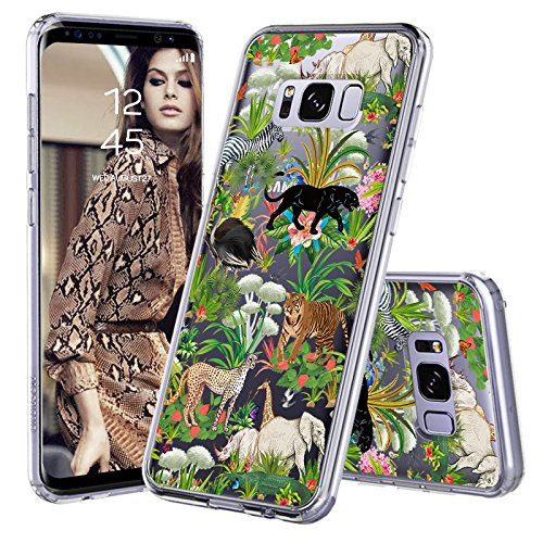Wild Fashion - Galaxy S8 Plus Case, Galaxy S8 Plus Cover, MOSNOVO Fashion Wild Animals Printed Clear Design Transparent Plastic Hard Slim Back with TPU Bumper Protective Cover for Samsung Galaxy S8 Plus (2017)