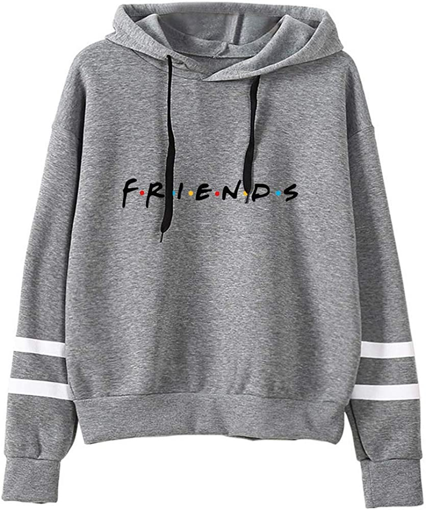 ZAWARA Unisex Friends Print Hoodies Casual Friends Hooded Sweater Long Sleeve Pullover Sweatshirt