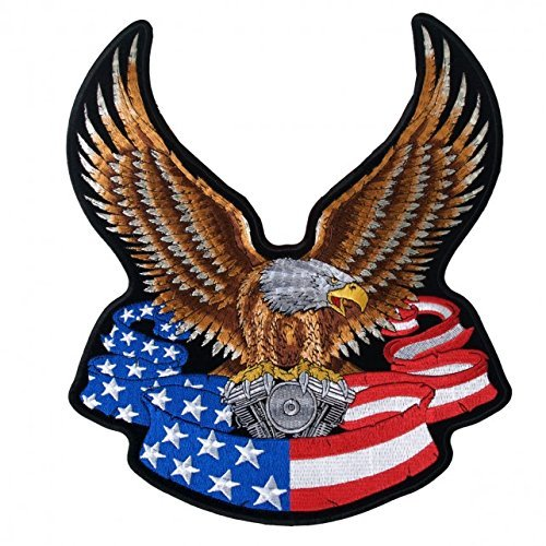 Hot Leathers, EAGLE BANNER with V-Twin Engine & American Flag - Iron-On / Saw-On Rayon PATCH - 10