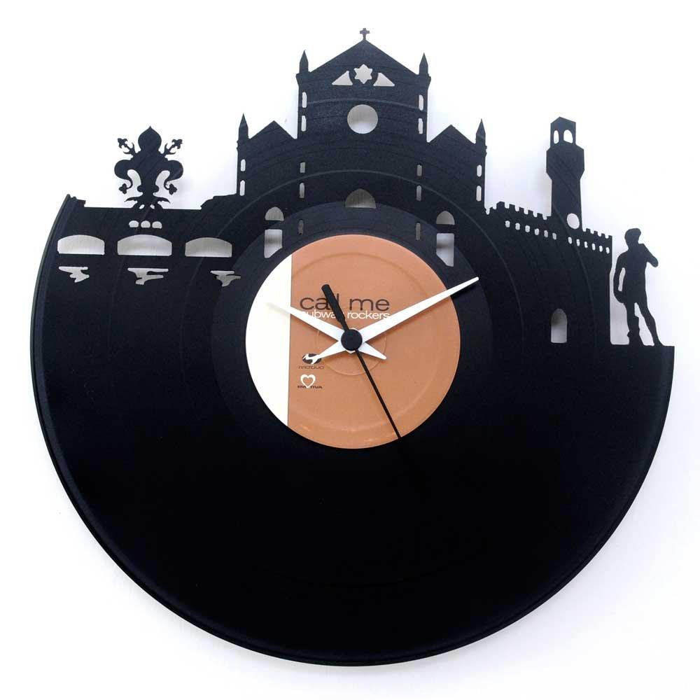 Florenz Geschenkidee Uhr aus Vinyl Schwarz Vinyluse original