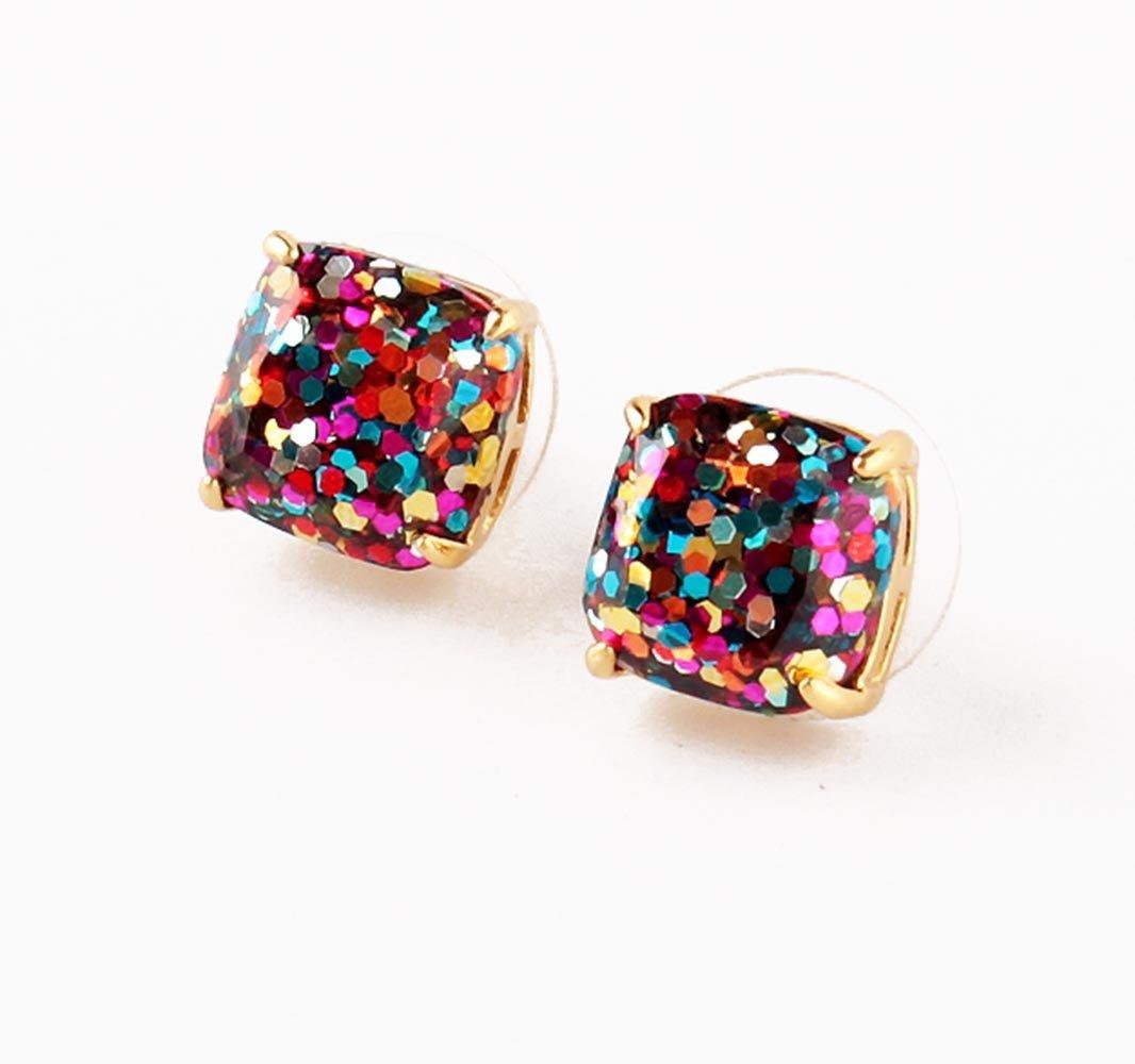 kate spade New York Mini MultiColor Glitter Stud Earrings 12k GP Gold by Kate Spade New York (Image #2)