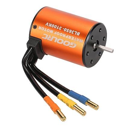 GoolRC 3650 3900KV Waterproof Brushless Motor for 1//10 RC Car HSP 94123 HuanQi 727 FS Racing 53625//53632