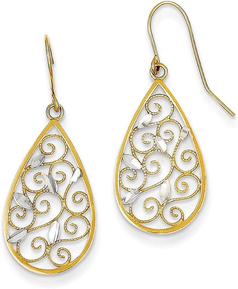 14K and Rhodium Diamond-cut Filigree Teardrop Wire Earrings