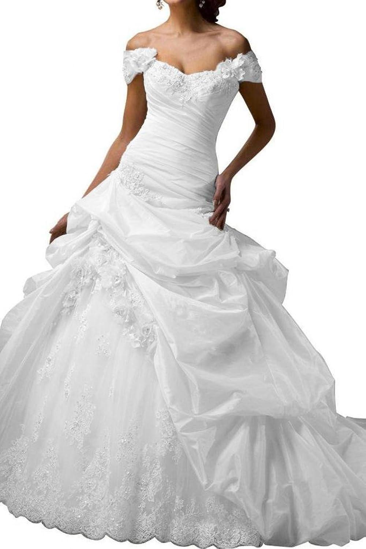 Gorgeous Bride Elegant Taffeta Bridal Gowns Long Wedding Dresses White