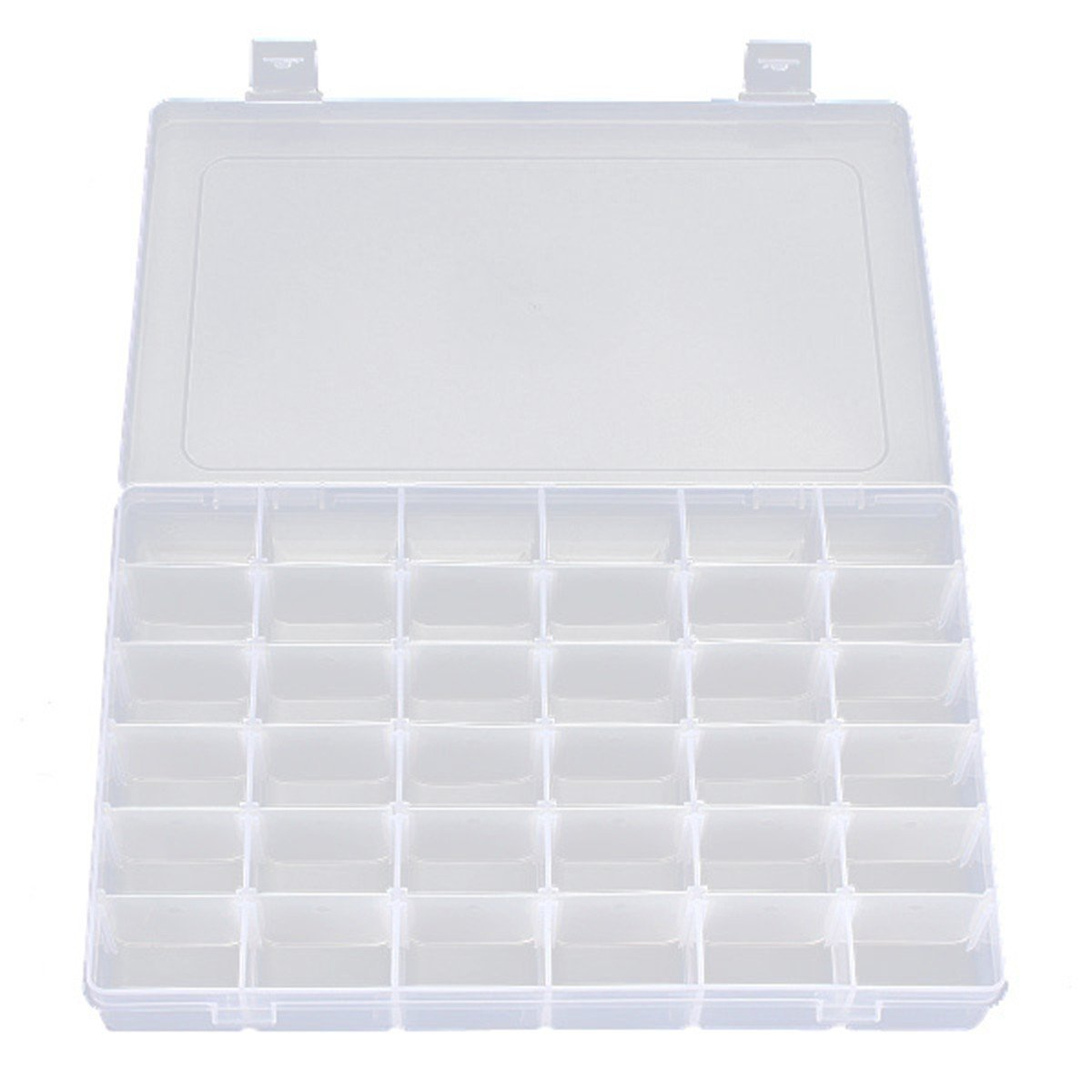 36 Grids Plastic Adjustable Earrings Jewelry Bead Box Holder Organizer Storage Container Case,Clear lasenersm