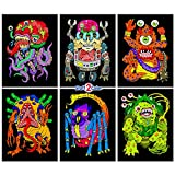 : Stuff2Color Monsters - 6 Pack of Fuzzy Velvet Coloring Posters