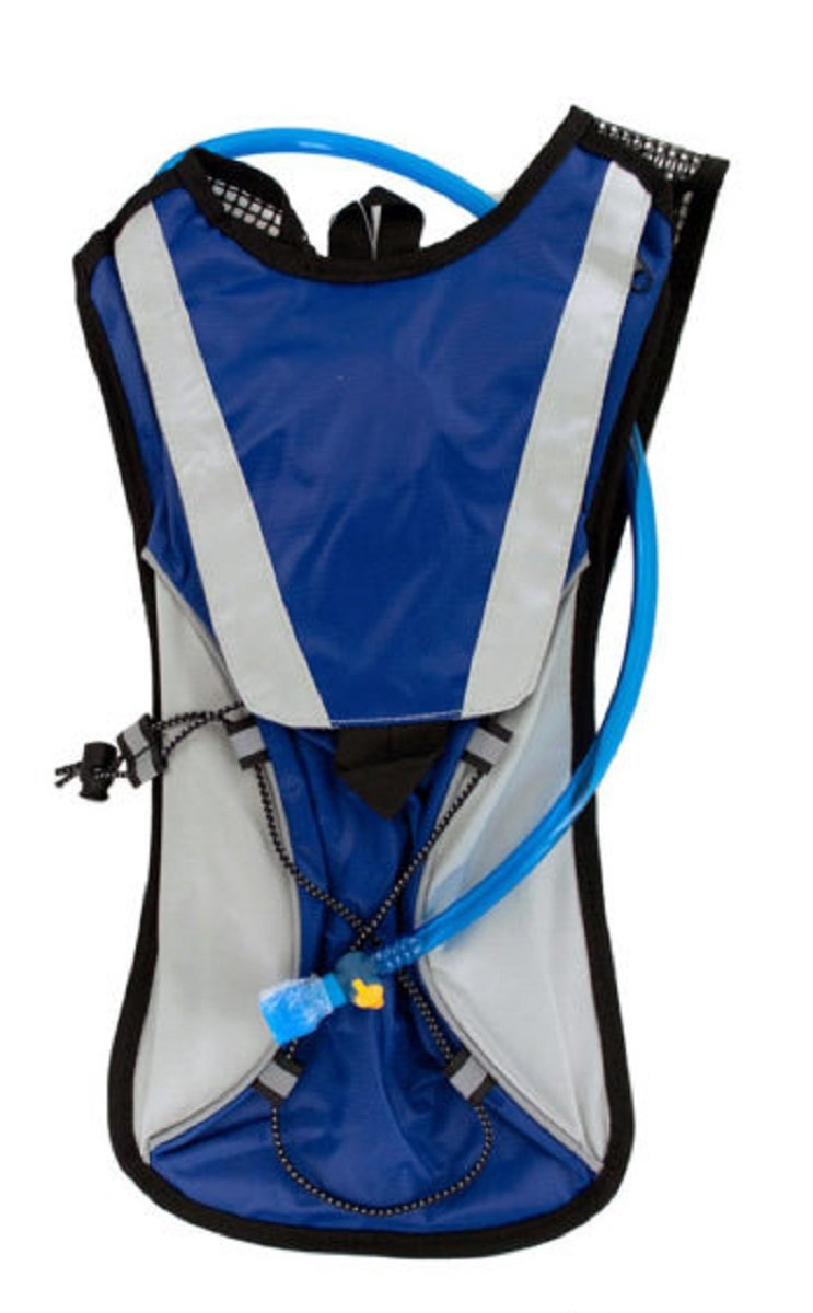 Kole Import Hydration Backpack 2L Bladder with Flexible Drinking Tube, Lightweight for Running, Hiking, Cycling, Hunting, Fishing, Survival (Blue) by Kole Import