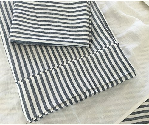 Amazon Com Dark Navy Striped Bed Sheet Handmade In Natural Linen