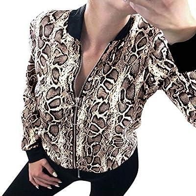 ANJUNIE Women Loose Zip Snake Print Long Sleeve Jacket with Pocket Casual Coat