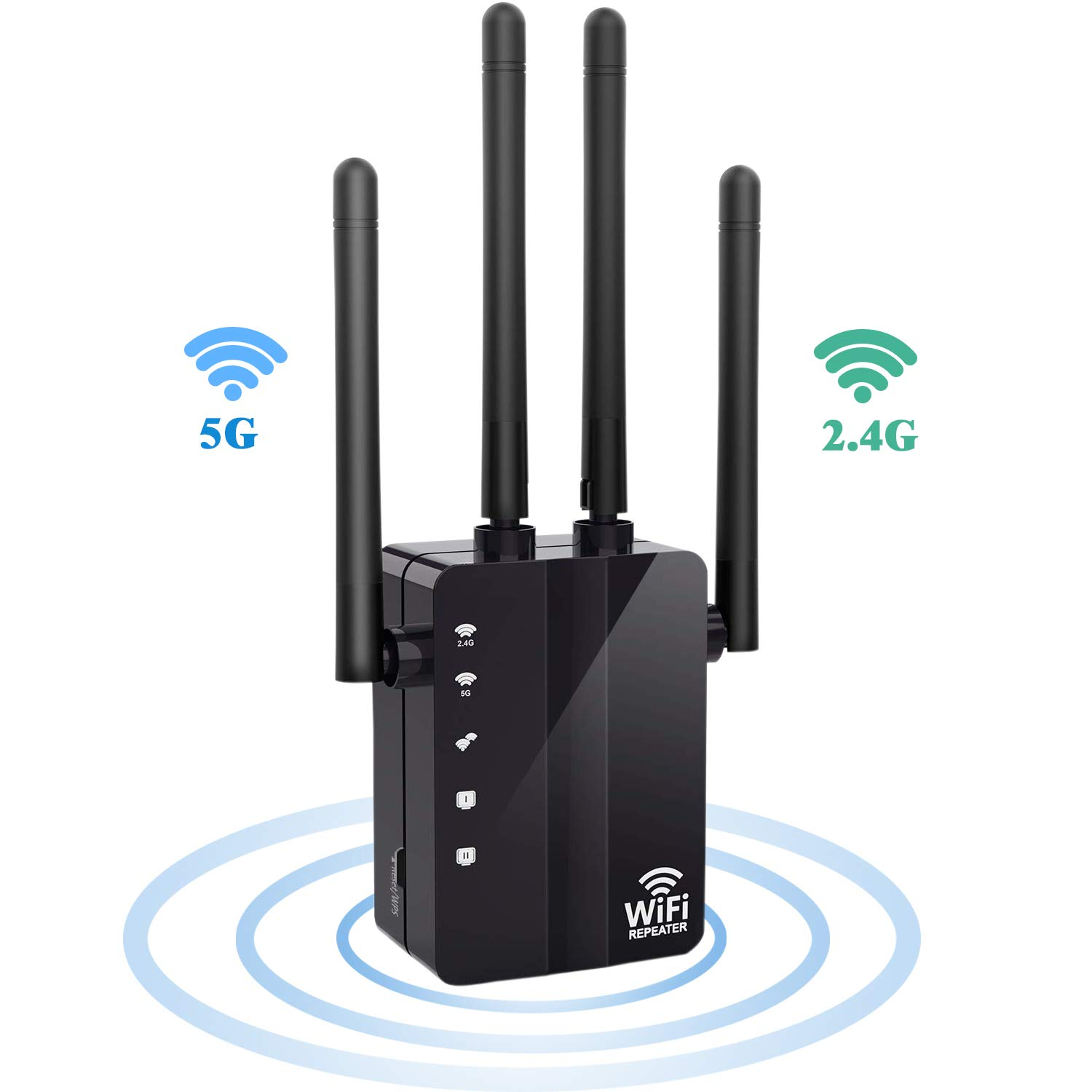WiFi Range Extender WiFi Repeater, SURUN 1200Mbps Wireless Signal Booster, 2.4 and 5G Dual-Band WiFi Extender with 4 External Antennas, with Gigabit Ethernet Port, 360-Degree Full Coverage Network