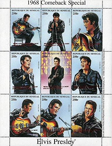 Senegal - 2007 Elvis Presley 1999 Red Overprint 9 Stamp Sheet 19F-013 (Red Overprint)