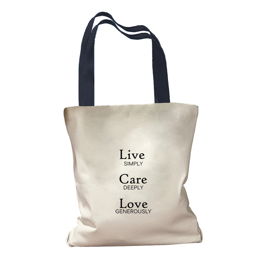 Live Simply Care Deeply Love Generously Canvas Colored Handles Tote - Navy