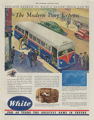 Express Us Mail (The Modern Pony Express White US Mail Rolling Post Office Bus ad 1941 SEP)