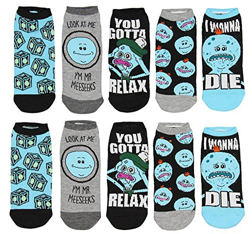 f4d9ed5b42529e Rick And Morty Mr. Meeseeks You Gotta Relax 5 Pack Low Cut Ankle Socks ...