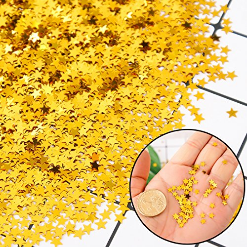 Gold Star Confetti Glitter Sequins for Party Wedding Festival Decorations DIY Projects Crafts Nail Art, 50 Grams/1.7 ounce,Small&Thin Confetti Thin