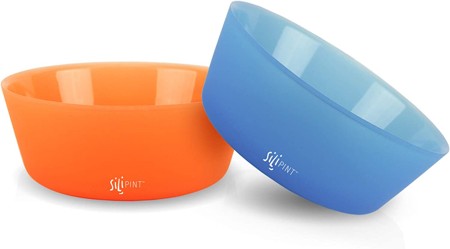 Silipint Silicone Bowl Set, U.S. Patented, BPA-Free, Unbreakable, Flexible, Microwave Safe, Oven Safe, BBQ Safe, Indoor and Outdoor Use (2-PackBend Blue, Tough Tangerine)