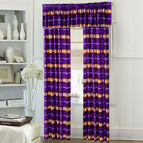 Western Essence Southwest Native American Design 5 Piece Curtain Set Navajo Multicolor Purple 5 Piece 16112 Purple Curtain Set