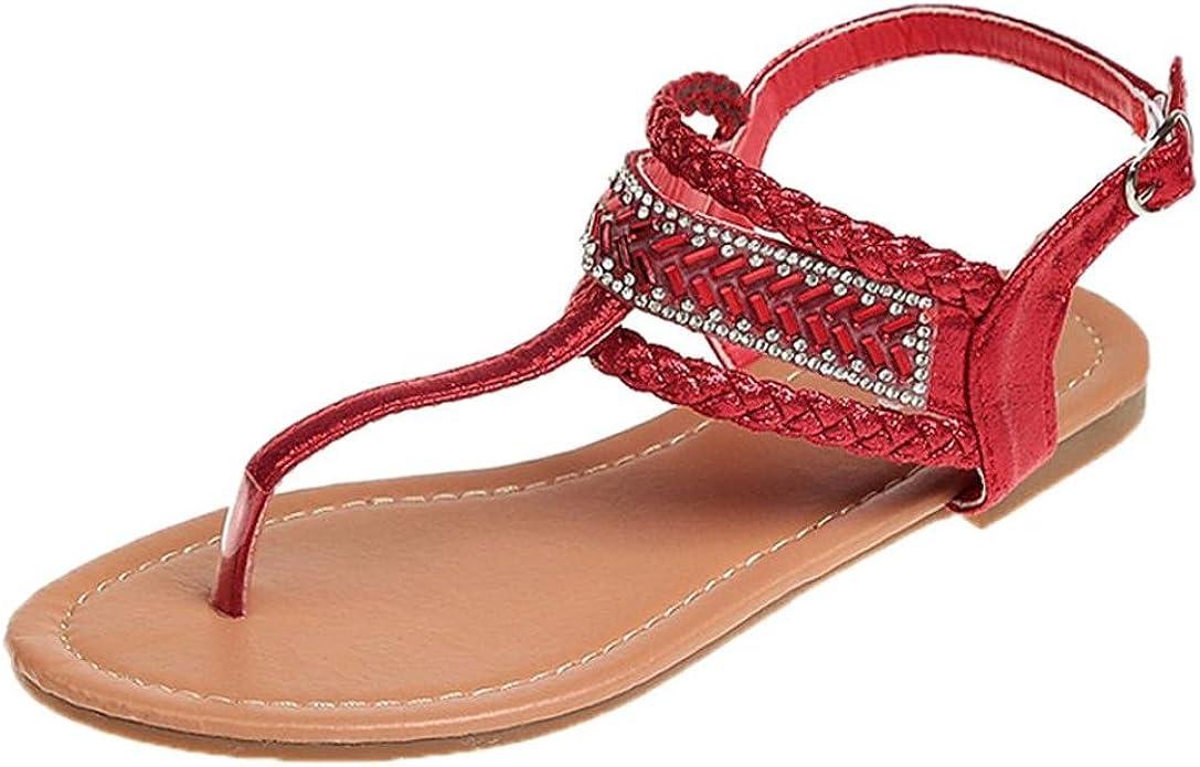 LUCKYCAT Sandales d'été Femme, Amazon Chaussures de Été Sandales à Talons Chaussures Plates Bohème Diamant Ceinture Fine Gladiateur Chaussures