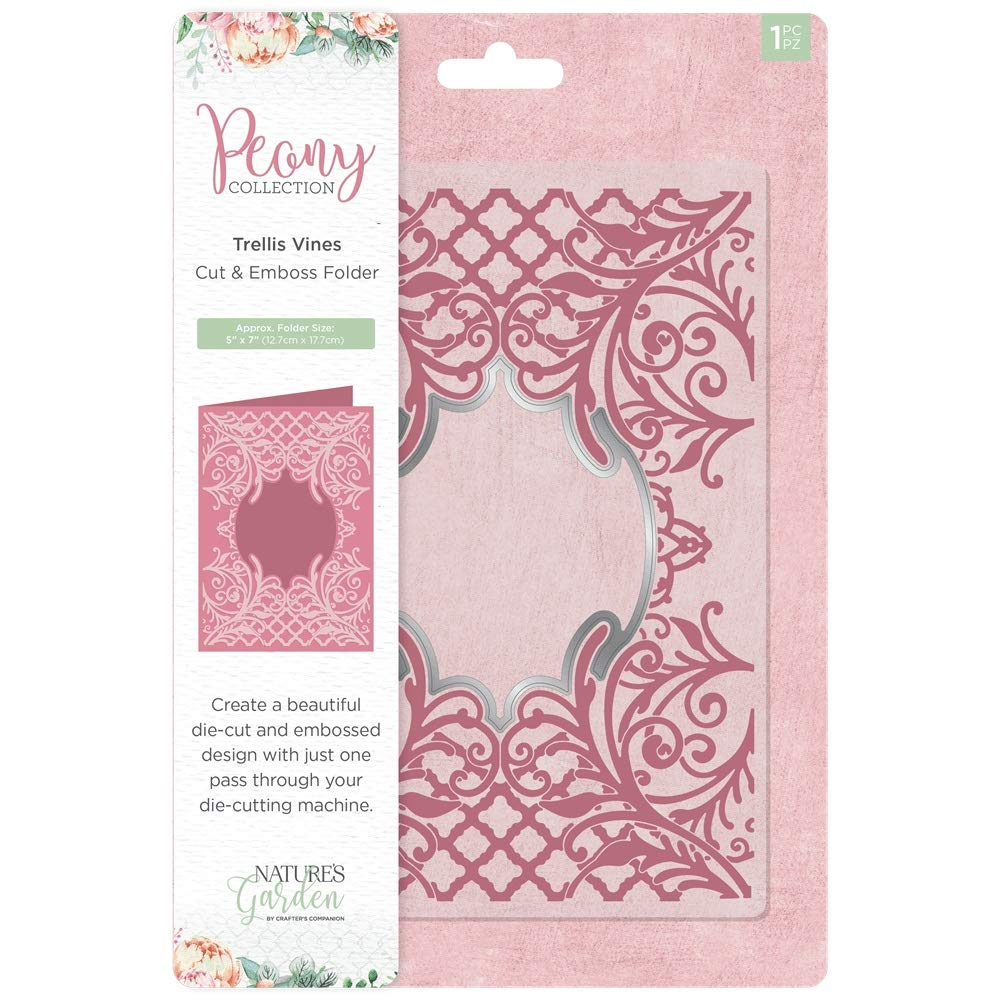 Nature's Garden Peony Craft Collection - Cut & Emboss Folder - Trellis Vines by Crafter's Companion