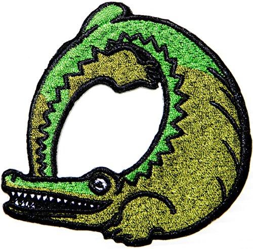 Pura Vida Monkey Lizard Crocodile Snake Dolphin Frog Toucan Bird Wild Animal Patch Sew Iron on Embroidered Applique Fabric Motif Cloth Decoration DIY Costume (Crocadile (3