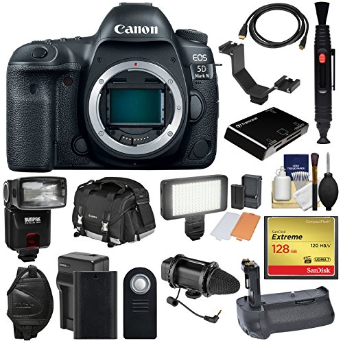 Canon EOS 5D Mark IV 4K Wi-Fi Digital SLR Camera Body with 128GB CF Card + Battery & Charger + Grip + Case + Flash + LED Light + Mic + Kit (Canon 5d Mark Iii Flash Bracket)