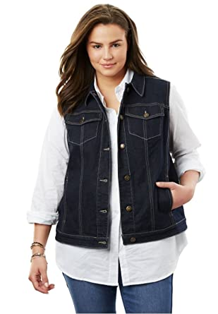 Woman Within Plus Size Stretch Jean Vest At Amazon Womens Coats Shop