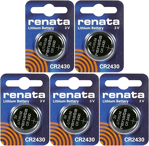 (Renata CR2430 Lithium Coin Batteries 3V Blister Card Packaged For Peg Hook Durable (5 Pack))