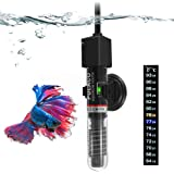 PULACO 25W Small Aquarium Betta Heater with Free Thermometer Strip, Under 6 Gallon Fish Tanks