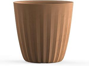 Crescent Garden Pleat Planter, Large Outdoor/Indoor Pot, 19-Inch (Weathered Terracotta)