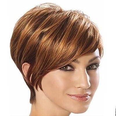 Mlle Gao Wensi l'Europe perruque courte ligne droite d'or pelucheux oblique frange perruque