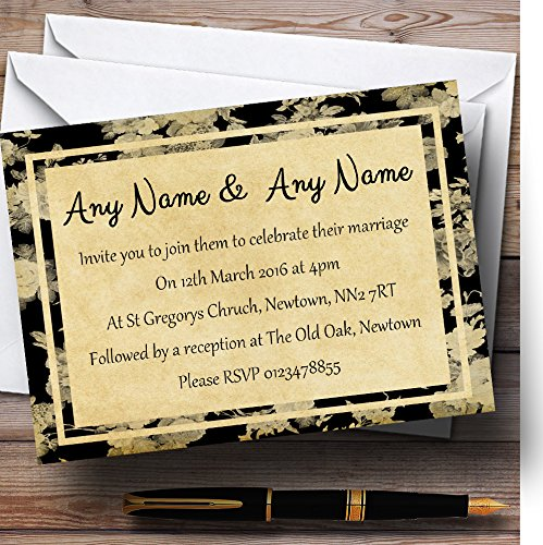 Vintage Black Roses Postcard Style Personalized Evening Reception Invitations
