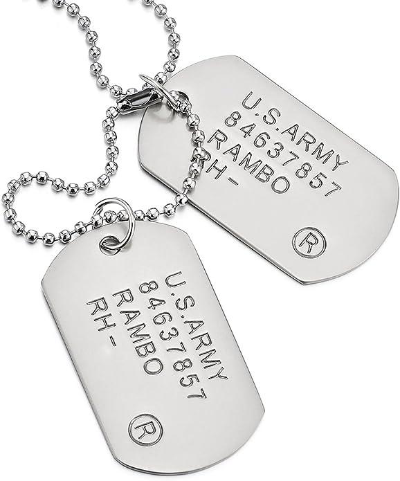 COOLSTEELANDBEYOND Satinado Dos Piezas Militar Ejército Dog Tag, Collar con Colgante de Hombre, Bola Cadena 70CM: Amazon.es: Joyería