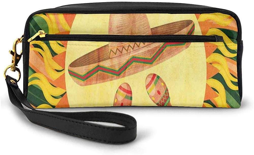 Sombrero étnico y Maracas en el Centro del Sol Figura Hippie Style Boho Home Pequeña Bolsa de Maquillaje con Cremallera Estuche de lápices 20cm * 5.5cm * 8.5cm: Amazon.es: Equipaje