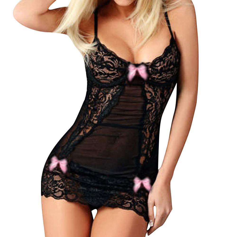 Seaintheson Women Lace Racy Underwear Sexy Bow Spice Suit Sleepwear Temptation Underwear Lace Nightdress Pink