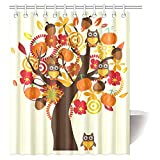 InterestPrint Retro Style Fall Tree with Flowers and Owl Birds Vintage Art Fabric Bathroom Shower Curtain with Hooks, 60 X 72 Inches