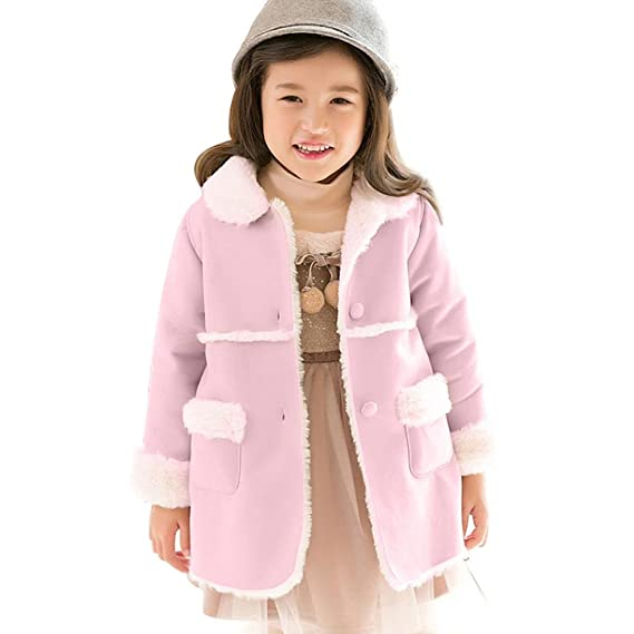 Bebé Chica solapa terciopelo cordero prenda abrigo con pelo , Yannerr niña niño invierno primavera chaqueta