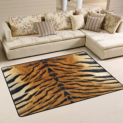 Naanle Animal Print Area Rug 4'x6', Tiger Print Polyester Area Rug Mat for Living Dining Dorm Room Bedroom Home Decorative (Print Outdoor Rugs Animal)