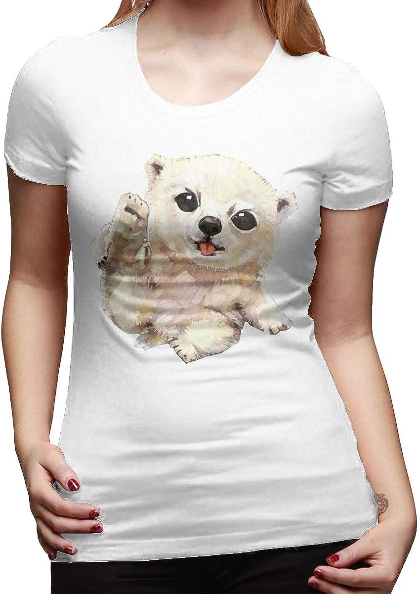 ALEXAKNER Designed T Shirt Sea Bear Short Sleeve Funny T Shirt for Ladies Black