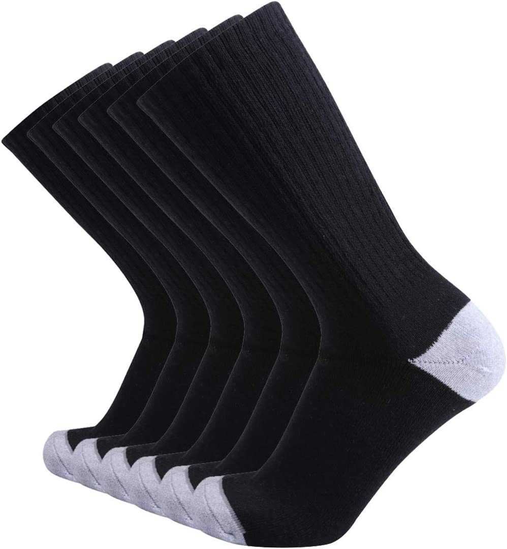 Enerwear 6P Pack Men's Cotton Moisture Wicking Heavy Cushion Crew Socks