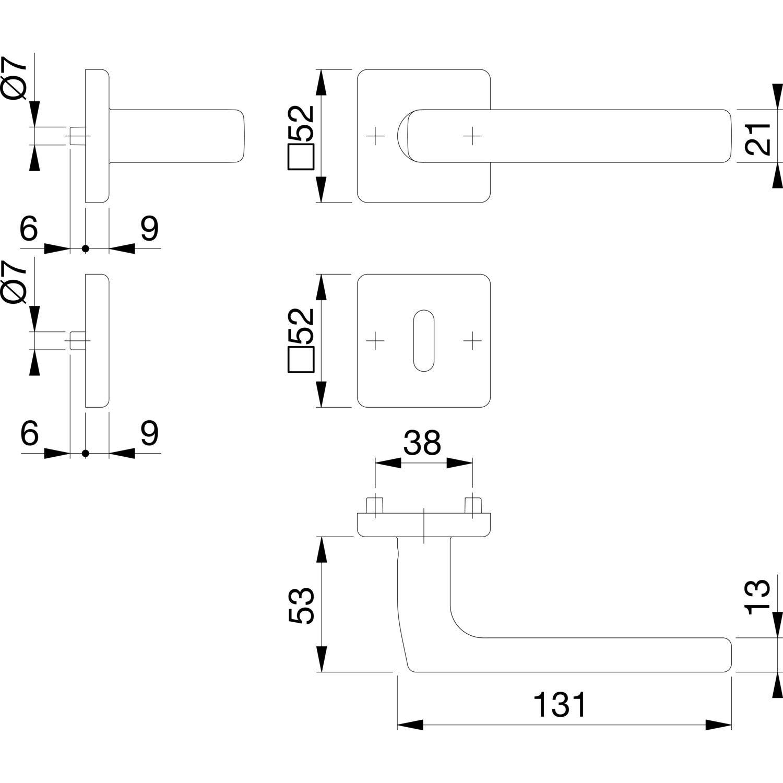 3675281 acier inoxydable mat Hoppe Poign/ée de Dallas avec rosaces BB Multicolore Barbe