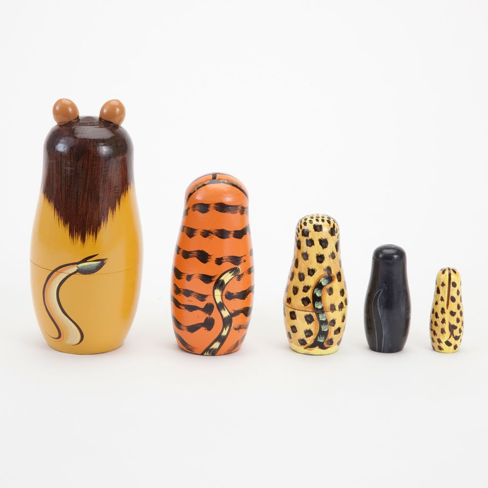 Bits and Pieces - ''Wild Cats - Matryoshka Dolls - Wooden Russian Nesting Dolls -- Jungle Cat Figurines - Stacking Doll Set of 5 by Bits and Pieces (Image #3)