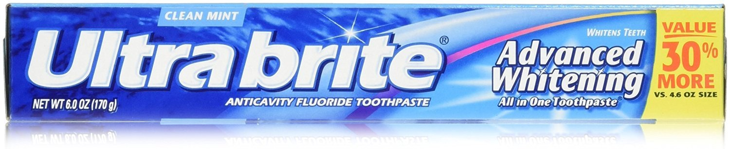Colgate Ultra Brite Advanced Whitening Fluoride Toothpaste, Clean Mint, 6 Count