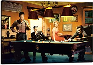 """Marilyn Monroe Wall Art Decor Movie Star of The Elvis and Marilyn Monroe Playing Snooker Canvas Painting Modern Prints Poster Wooden Artwork for Living Room Bedroom Home Office Wall Decor (12""""Hx18""""W)"""