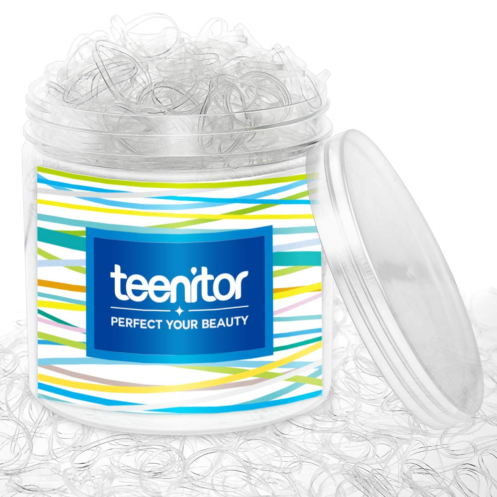 Clear Elastic Hair Bands, Teenitor 2000pcs Mini Hair Rubber Bands with a Box, Soft Hair Elastics Ties Bands 2mm in Width and 30mm in Length : Beauty