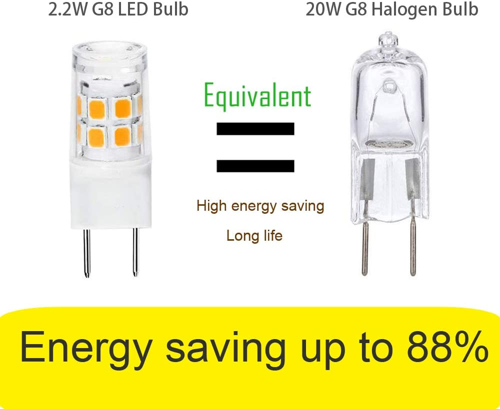 Daylight White for Under Cabinet Kitchen Lighting 20W Halogen Bulb Replacement G8 LED Bulb Under-Cabinet Light G8//GY8.6 Bi-pin Base 200LM 5-Pack 2.2W Puck Light AC120V